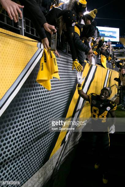 Pittsburgh Steelers Wide Receiver Antonio Brown shakes hands with fans after the game between the Tennessee Titans and the Pittsburgh Steelers on...