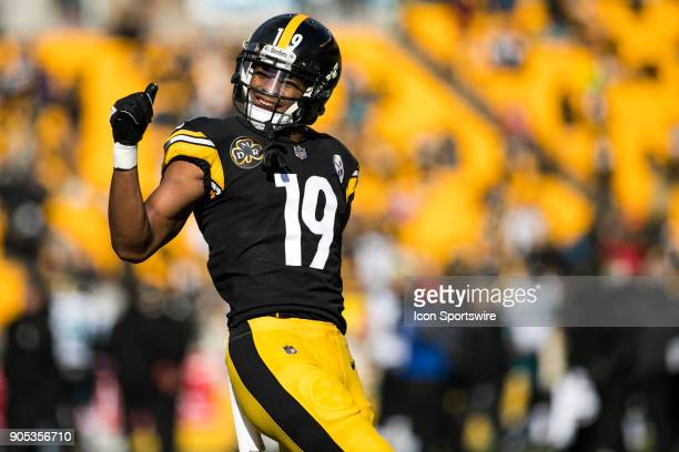 Pittsburgh Steelers wide receiver JuJu SmithSchuster dances during the AFC Divisional Playoff game between the Jacksonville Jaguars and the...