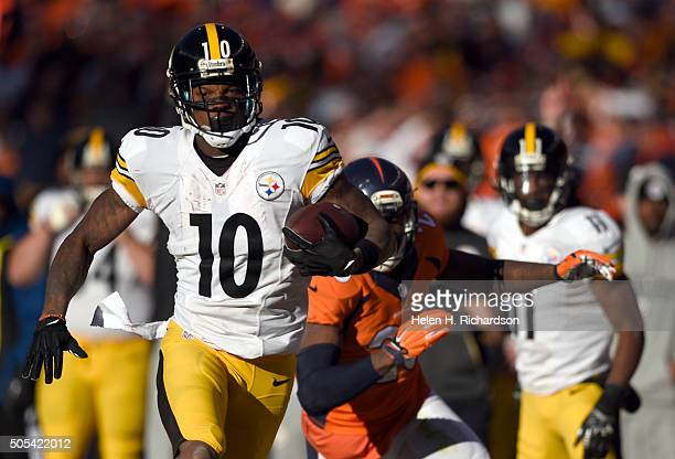 Pittsburgh Steelers wide receiver Martavis Bryant heads down the sidelines against the Denver Broncos during the first quarter January 17 2016 in the...