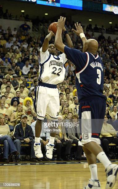 Pittsburghs' Antonio Graves in action against Connecticut at the Petersen Events Center on February 26, 2005 in Pittsburgh, Pennsylvania.