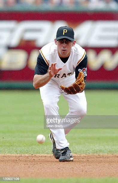 Pittsburgh's Jack Wilson fields a ground ball during the game against the Milwaukee Brewers at PNC Park in Pittsburgh, Pennsylvania on July 4, 2004....