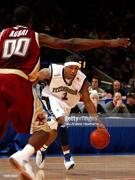 Pittsburgh's Julius Page drives the lane during first half action against Boston College at Madison Square Garden in New York City March 12 during...