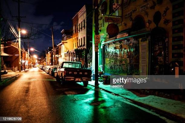 """pittsburgh's northside by night - """"peeter viisimaa"""" or peeterv stock pictures, royalty-free photos & images"""