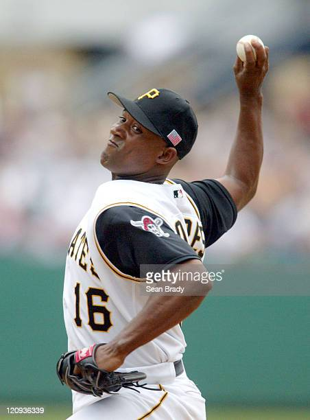Pittsburgh's Saloman Torres pitches during the game against the Milwaukee Brewers at PNC Park in Pittsburgh, Pennsylvania on July 4, 2004. The...