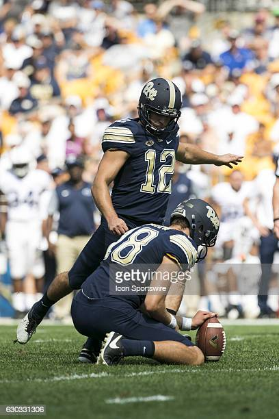 Pittsrbugh Panthers Kicker Chris Blewitt kicks an extra point during the NCAA Football game between the Penn State Nittany Lions and Pittsburgh...