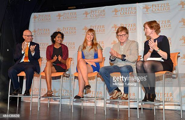 Pitzer College Trustee Donald Gould professor/author Brinda Sarathy student Jess GradyBenson actor and Pitzer College Trustee Robert Redford and...