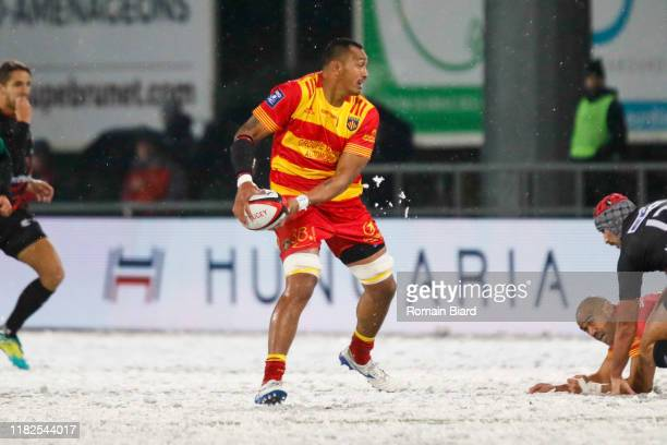 Piula FAASALELE of Perpignan during the Pro D2 match between US Oyonnax and US Harlequins Perpignanais on November 14 2019 in Oyonnax France