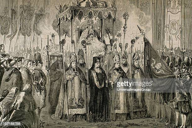 Pius IX , Italian Pope, born Giovanni Maria Mastai-Ferretti, Elected in 1846, Canonization of the martyrs of Japan on the day of Pentecost, Rome,...