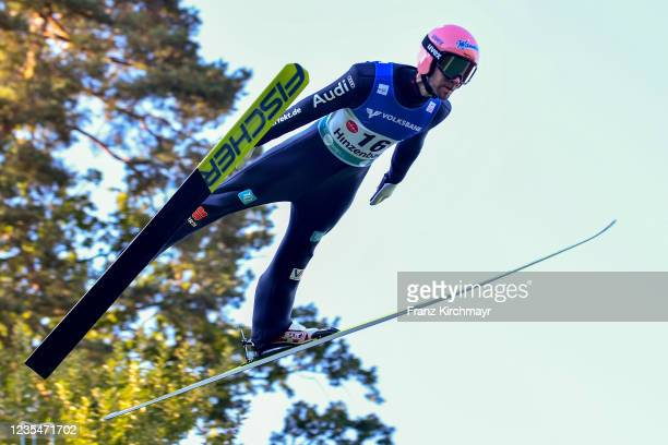 Pius Paschke of Germany competes during the FIS Grand Prix Skijumping Hinzenbach at on February 6, 2021 in Eferding, Austria.