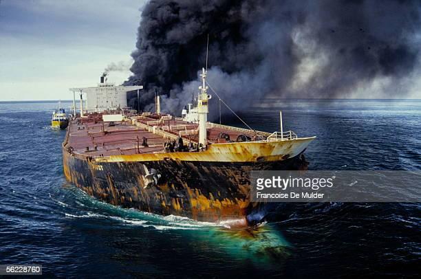 "Pivot"" tanker in flames during the Iran-Iraq war. The Ormuz straits, in December, 1987. FDM-1801-5."