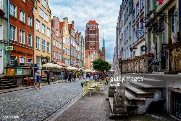 piwna street in old town, gdansk, poland - pomorskie province stock photos and pictures