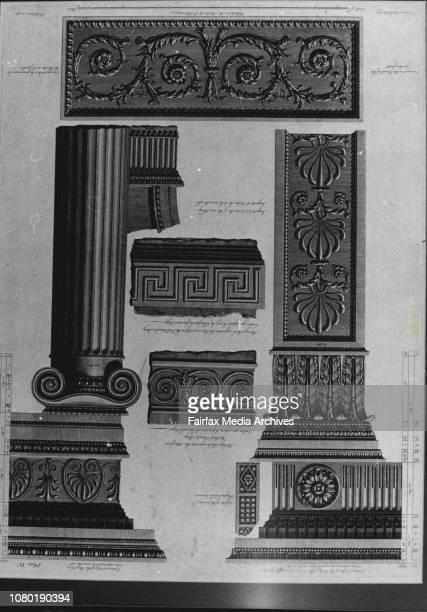 Pix of etchings at Queen Street GalleriesDetails of ornament Kenwood House c1768 by Robert Adam Price $400 October 19 1981