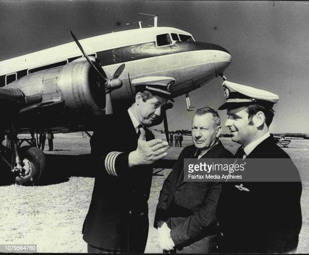 Capt Alex Cariock and 1st officer John Wilson with Mr CA Butler founder of Butler Air Transport which became Airlines of NSW in 1957 at Camden...