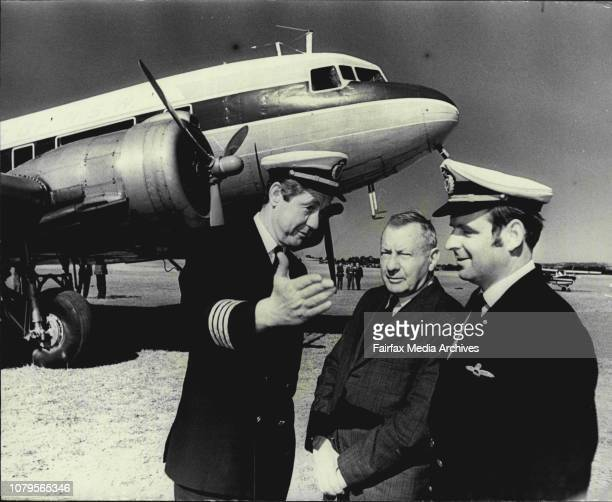 Pix shows Capt AlexGarriock and 1st officer John Wilson with Mr CA Butler founder of Butler Air Transport which became airlines of NSW in 1957 at...