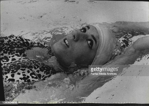 Christine Caron The French Swimming Team which arrived in Sydney today by air for an Australian tour their first training ***** the Auburn Swimming...