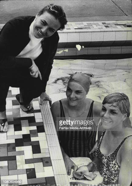 Manageress Madame Heda Frost Claude Mandonnaud and Christine Caron The French Swimming team which arrived in Sydney today by air for an Australian...