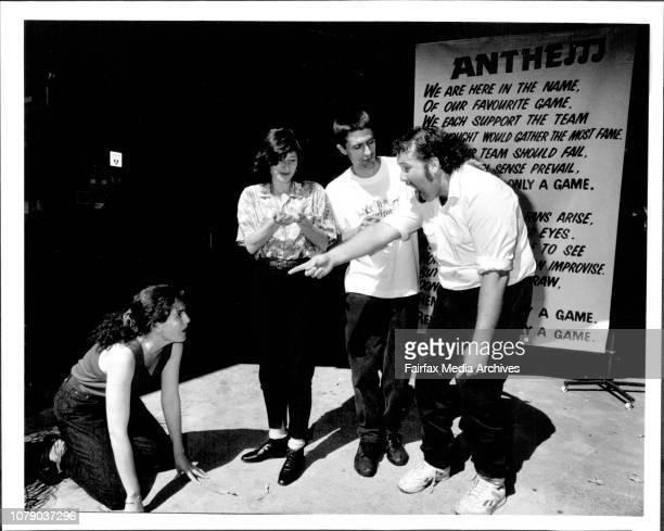 Theatre sports players at the belvoir street theatre Left to Right in front Robyn Butler and Lyn Pierse behind on the right in front Brett Wood and...