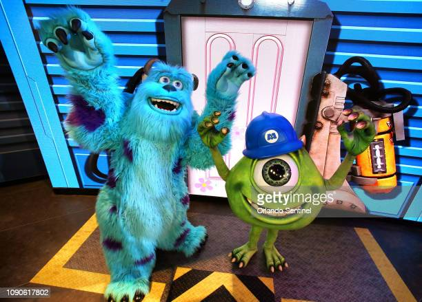 Pixar characters Mike Wazowski right and Sulley greet guests at the debut of An Incredible Celebration at Disney's Hollywood Studios at Walt Disney...