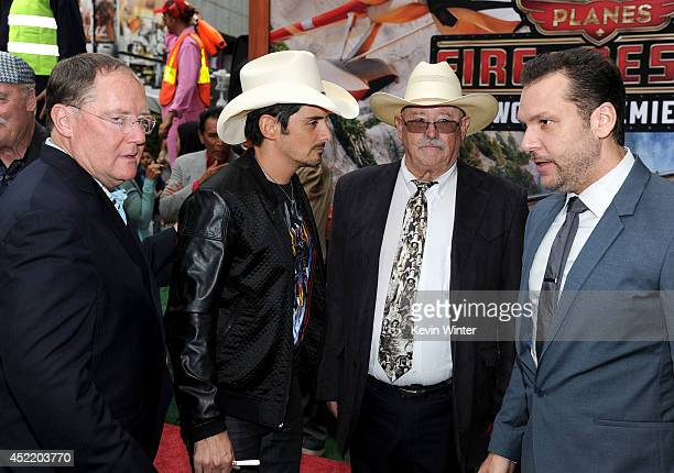 Pixar chief creative officer/Executive Producer John Lasseter singer Brad Paisley actors Barry Corbin and Dane Cook attends the premiere of Disney's...