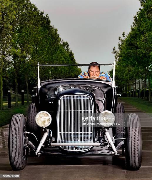 Pixar Director John Lasseter Driving Hot Rod