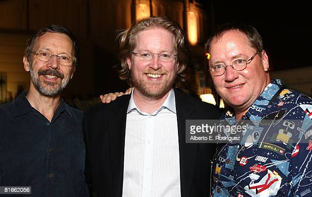 Pixar's Ed Catmull director Andrew Stanton and producer John Lasseter attend the after party for the world premiere of DisneyPixar's film WallE held...
