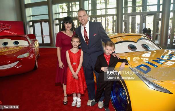 """Pixar's Jay Ward and family at the World Premiere of Disney/Pixar's """"Cars 3' at the Anaheim Convention Center on June 10 2017 in Anaheim California"""