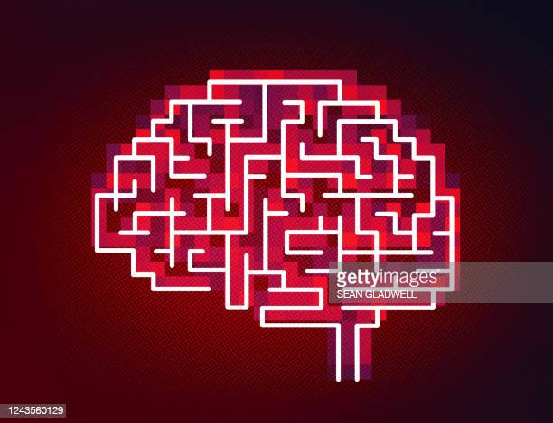 pixelated brain icon on red - decisions stock pictures, royalty-free photos & images