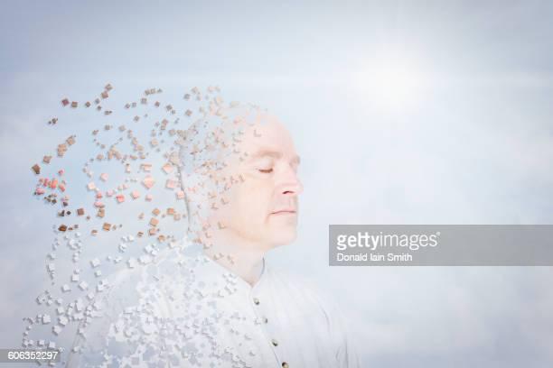 Pixelated Caucasian man in blue sky