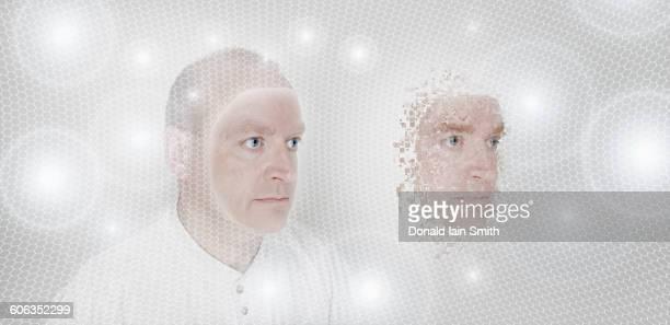Pixelated Caucasian man in glowing orbs
