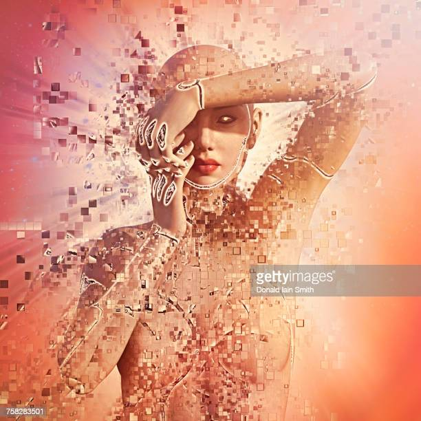 Pixelated cyborg woman