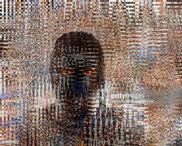 pixelated face of caucasian criminal wearing ski mask - anonymous hacker fotografías e imágenes de stock