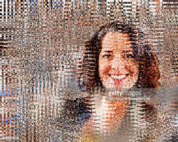 Pixelated face of Hispanic businesswoman