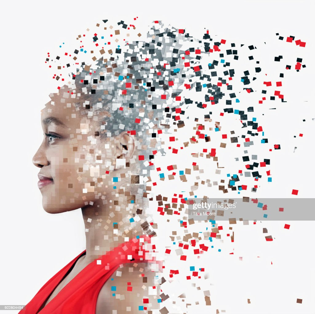 pixelated face of woman : Stock Photo