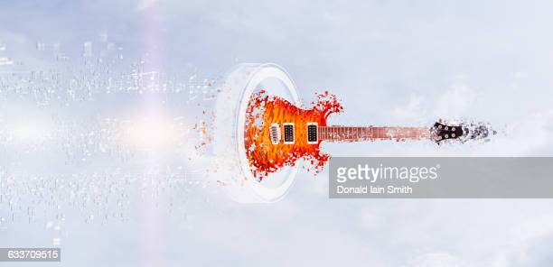 Pixelated guitar floating in sky