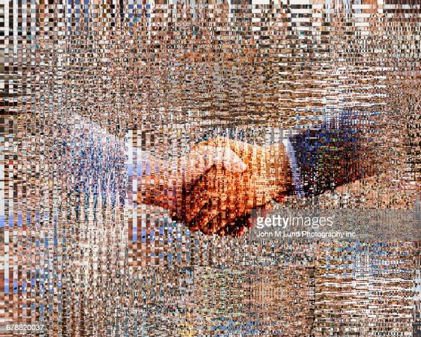 pixelated hands of businessmen shaking hands - hingabe stock-fotos und bilder