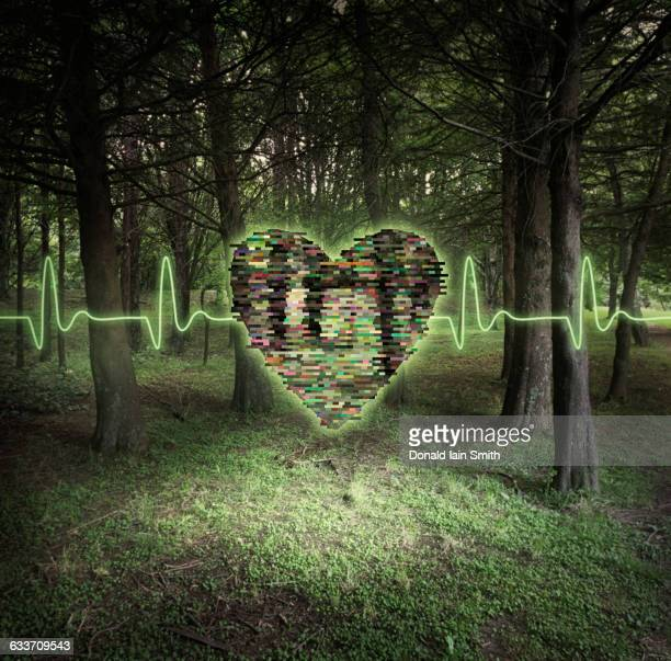 Pixelated heart floating in forest