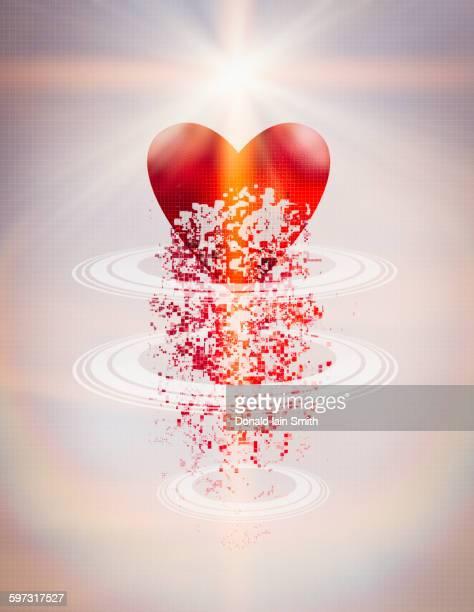 Pixelated heart in circular rings