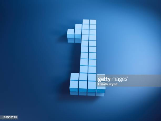 Pixelated Number One Blue Cubes