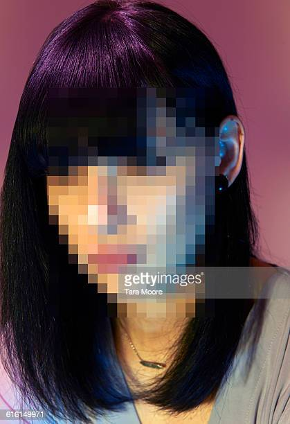 pixelated portrait of woman - image stock pictures, royalty-free photos & images