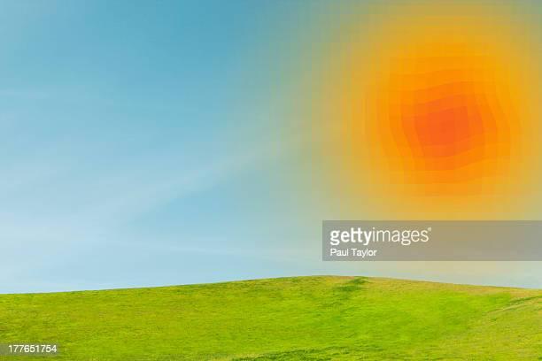 Pixelated Sun in Landscape