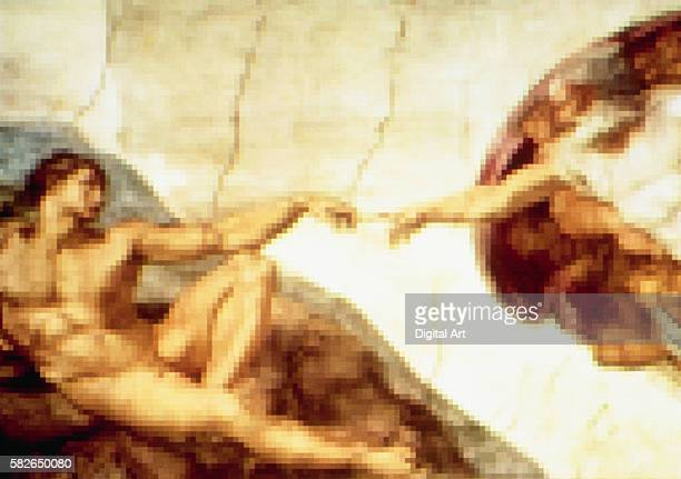 Pixelated The Creation of Adam by Michelangelo