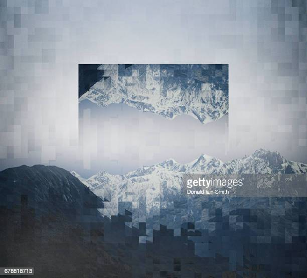Pixelated upside-down image of mountain range