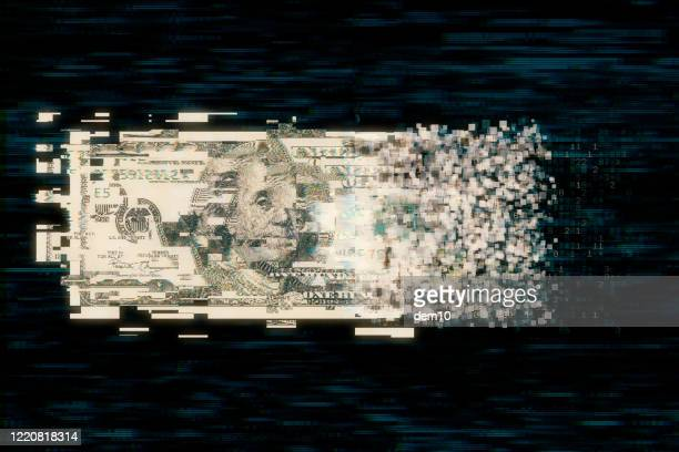 pixelated us paper currency on dark background - money transfer stock pictures, royalty-free photos & images