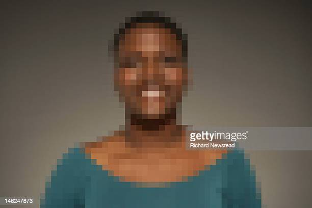 pixelated woman - pixels stock photos and pictures