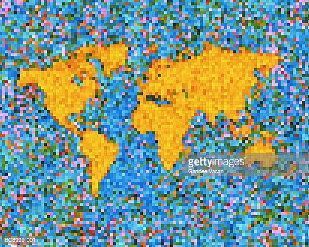 Pixellated world map (Digital Composite)