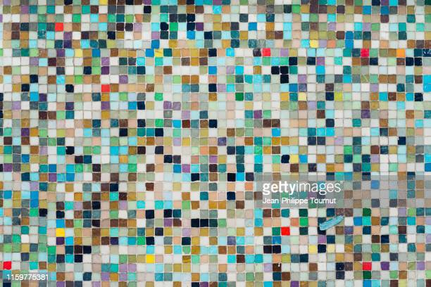 pixel-like mosaic on a wall, istanbul, turkey - photo mosaic stock pictures, royalty-free photos & images