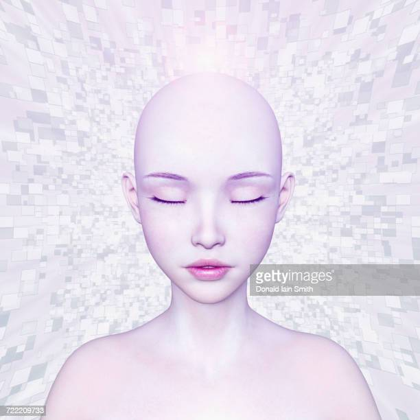 Pixels beaming from shaved-head of futuristic girl