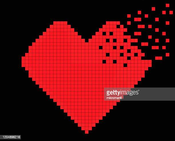 pixels heart. valentine's day background - negative emotion stock pictures, royalty-free photos & images