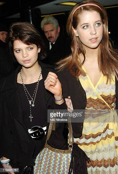 """Pixie and Peaches Geldof during """"Derailed"""" London Premiere - Departures at Curzon Mayfair in London, Great Britain."""
