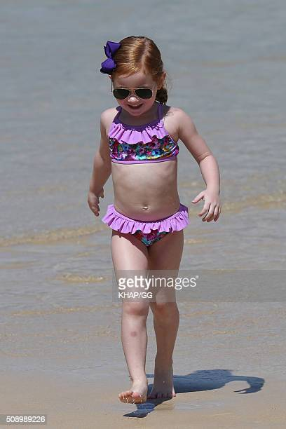 Pixie Curtis daughter of Roxy Jacenko and Oliver Curtis looks as cute as a button on February 7 2016 in Sydney Australia